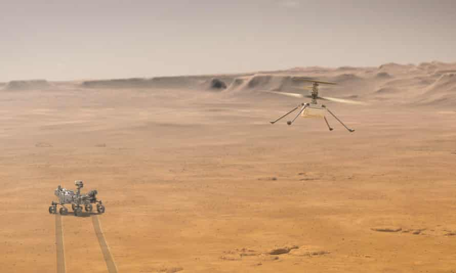 An artist's impression of how the Ingenuity helicopter may look when it lifts off into Martian skies.
