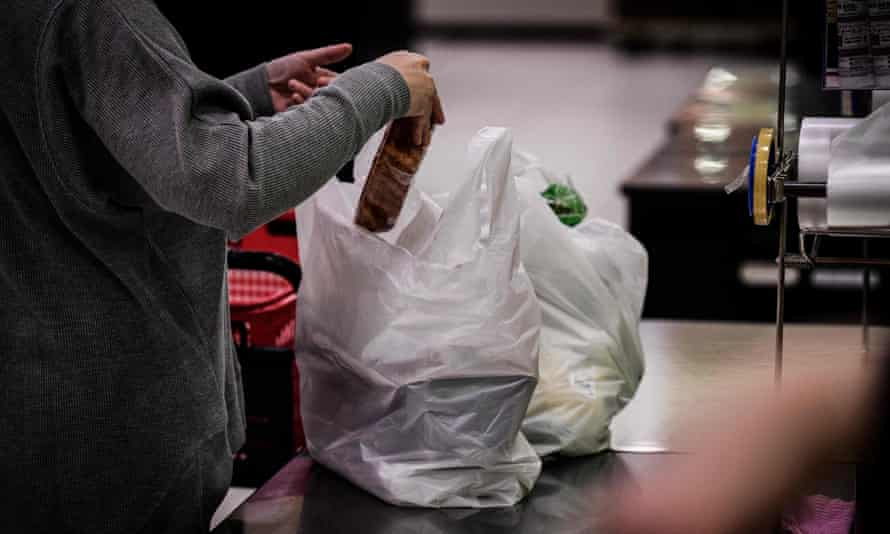 a woman packing her shopping