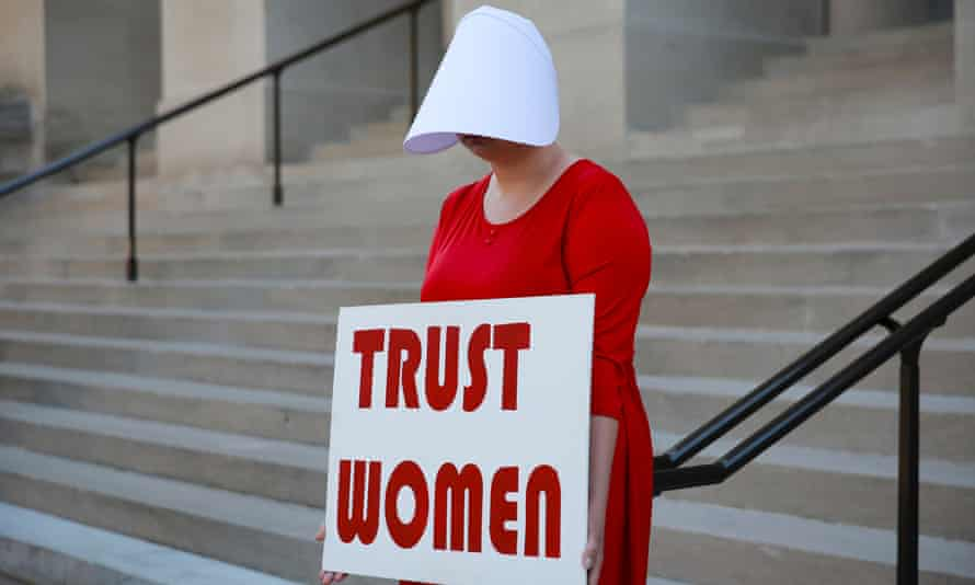 A woman protests against Georgia's anti-abortion bill at the State Capitol in Atlanta on 7 May 2019. 'Women in the US have seen their ability to terminate pregnancies dismantled piece by piece.'