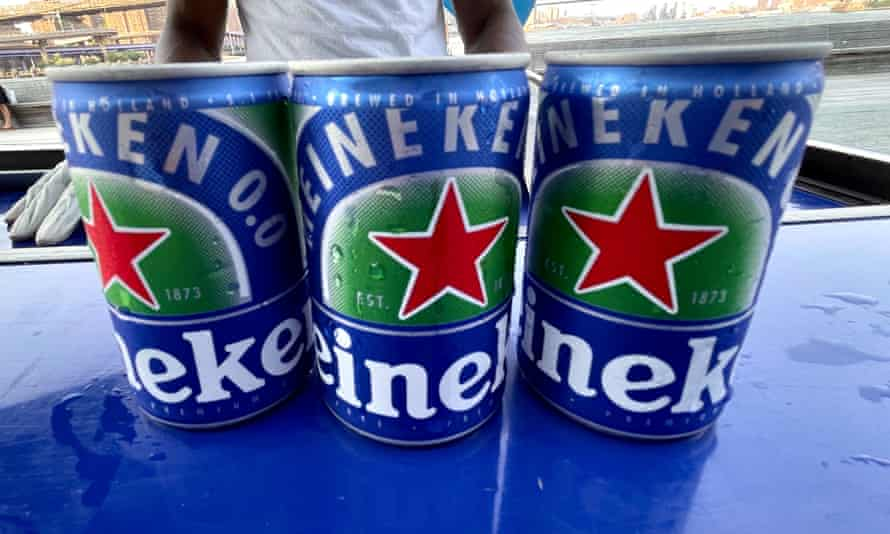 Cans of Heineken, who owns about 4% of the US market, are seen at a sampling event in New York City on 15 July.