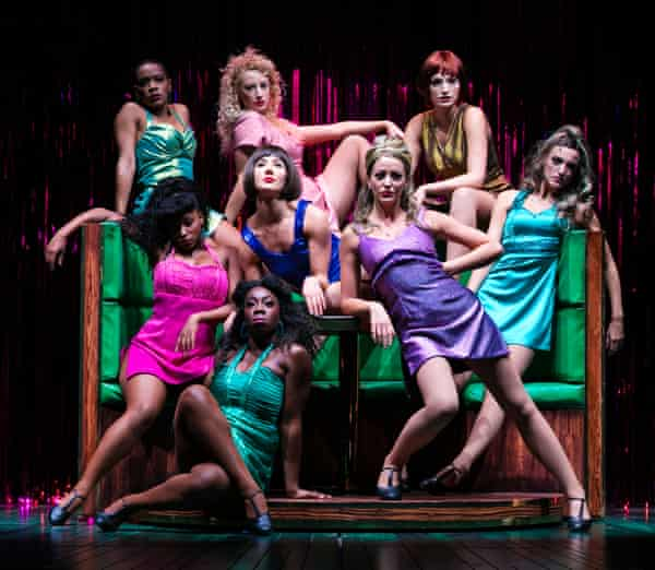 Mocking, come-hither approach ... the cast of Sweet Charity.