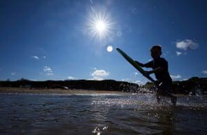 Rafe Barrett bodyboarding on Lligwy Bay beach