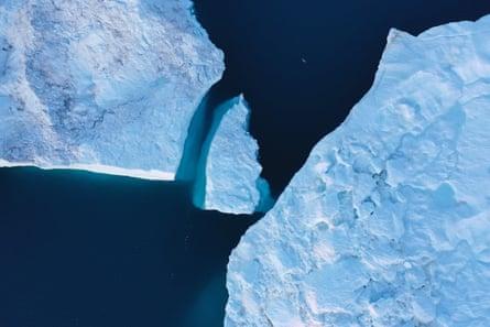 Icebergs near Ilulissat, Greenland, in August 2019.