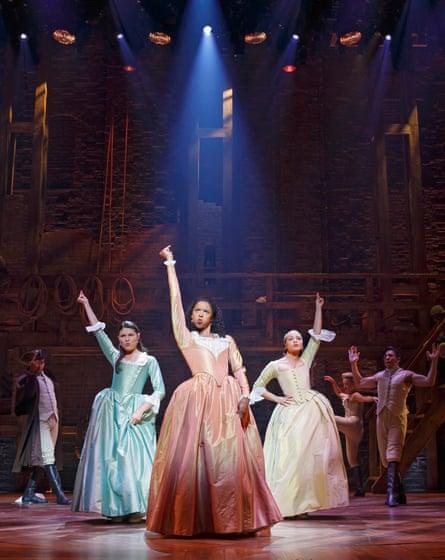Phillipa Soo, Renée Elise Goldsberry and Jasmine Cephas Jones in Hamilton at the Richard Rodgers theatre in New York.