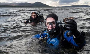 Dr Bill Sanderson retrieves oysters from the Dornoch Firth as part of the Dornoch environmental enhancement project.