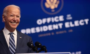 Joe Biden in Wilmington, Delaware, on 10 November.