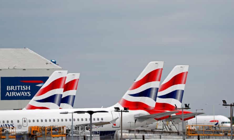 British Airways passenger planes are pictured at Heathrow airport in west London