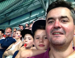Selfie pic of Tom Walker and his children at Euro 2016 football match