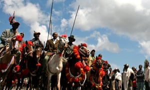 Men parade in the Oromia region outside Addis Ababa.