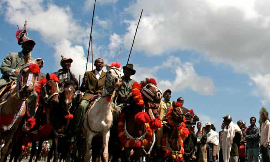 Men parade in the Oromia region outside Addis Ababa.