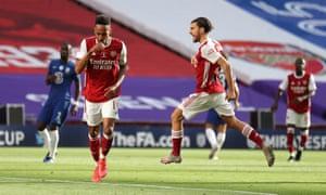 Arsenal's Pierre Emerick Aubameyang celebrates his goal.