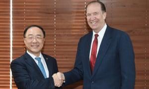 David Malpass  with South Korean finance minister Hong Nam-ki