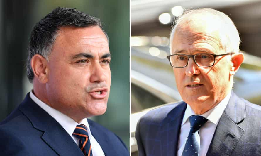 NSW deputy premier John Barilaro (L) and former PM Malcolm Turnbull.
