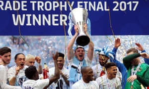 Coventry City players celebrate after winning the Checkatrade Trophy, via a 2-1 win over Oxford United, at Wembley last month