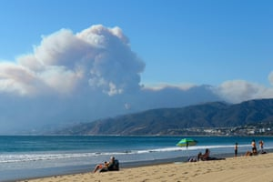 Smoke from the fire seen from Santa Monica state beach on Friday.