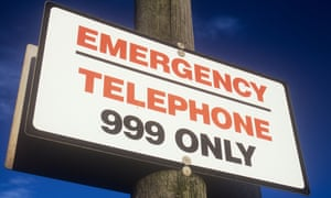 Sign saying emergency telephone 999 only