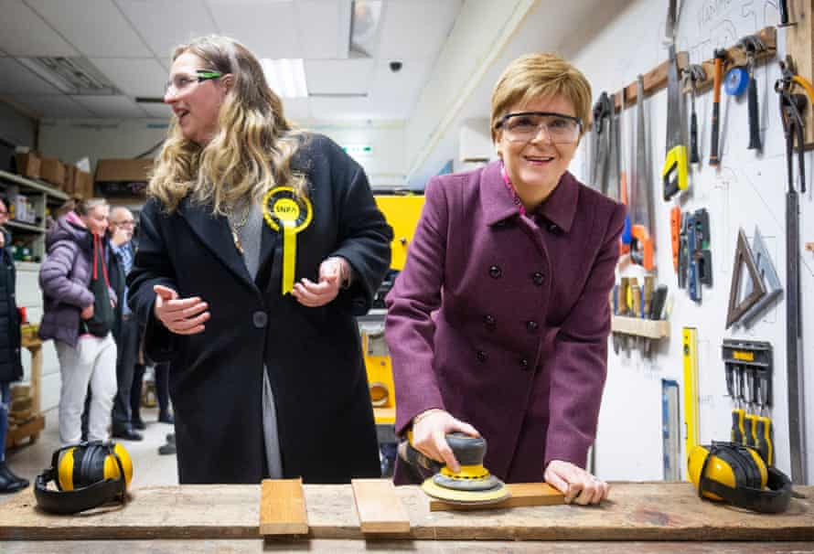 SNP leader Nicola Sturgeon, with SNP candidate for Edinburgh West Sarah Masson (left) on the campaign trail.