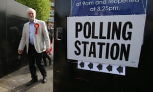 Opposition Labour party leader Jeremy Corbyn arrives at a polling station to vote in local elections in London