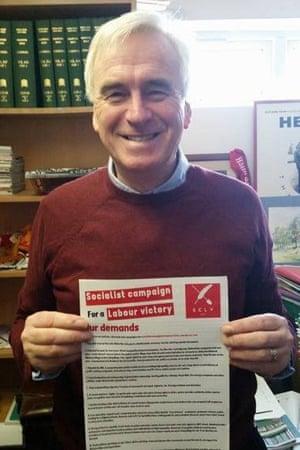 John McDonnell holding an SCLV document