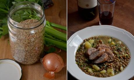 Rachel Roddy's recipe for lentils, potato, greens and sausage