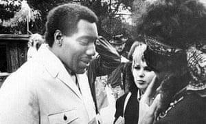 Eleanor Barooshian with Otis Redding, left, and Jimi Hendrix at the Monterey pop festival in 1967