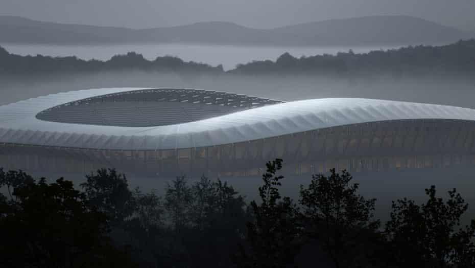 Zaha Hadid Architects' design for a new all-timber stadium.