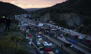 Protesters closed off both sides of the road at La Jonquera.
