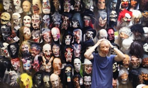 Mike Zagone sells Halloween masks at Fantasy Costumes in Chicago