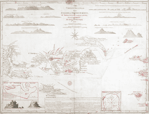 Virgin Islands, 1797In 1775, Thomas Jefferys's map of the Virgin Islands was the best one around but, 20 years later, increasing European knowledge had rendered it considerably out of date. These extensive updates for the 1779 edition have been added in teacher-like red pen.