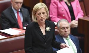 Labor senator Katy Gallagher addresses the Senate