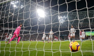 Alisson and the Liverpool defence can only watch as Michail Antonio equalises for West Ham.