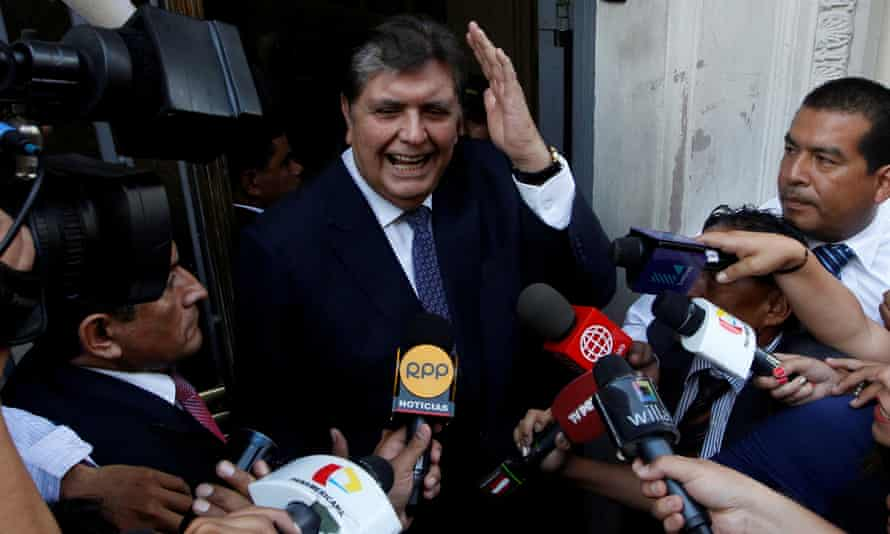 Former president of Peru Alan García arrives to the National Prosecution office to testify in Odebrecht case in Lima, Peru on 16 February 2017.