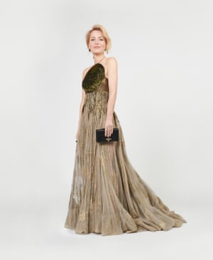 In a look that was a far cry from Margaret Thatcher's stuffy suits, Gillian Anderson wore a floaty Dior gown to accept her award for best supporting actress in a TV series for The Crown.
