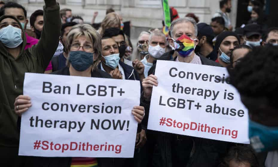 A 'ban conversion therapy' protest outside the Cabinet Office in June.
