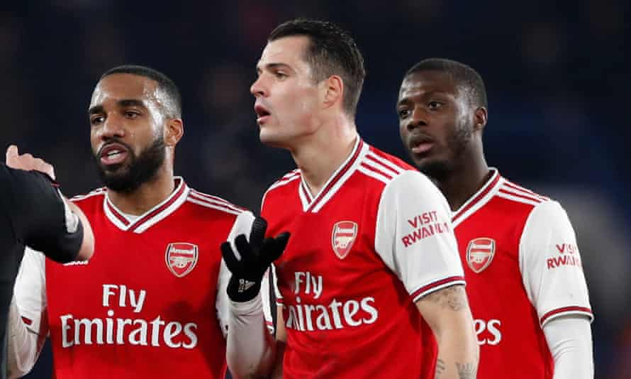 Arsenal's Alexandre Lacazette (left), Granit Xhaka and Nicolas Pépé are among the players to have flouted government guidelines.
