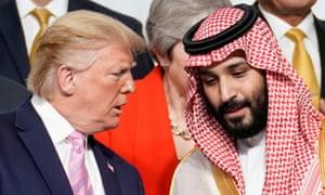 US President Donald Trump speaks with Saudi Arabia's Crown Prince Mohammed bin Salman at the G20 in Japan in 2019.