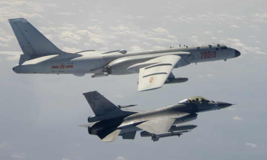 Taiwanese military jet and Chinese bomber