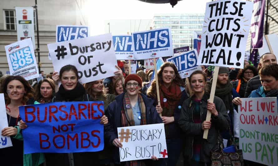 Student nurses with placards