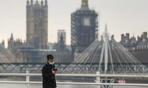 Man in London wearing mask