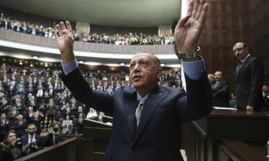 Recep Tayyip Erdoğan in parliament in Ankara