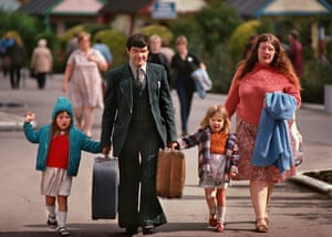 A 1960s family arriving at a camp