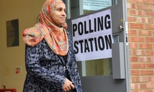 A woman voting in Luton in 2015, when Labour won 68% of the minority ethnic vote, down from 80% in previous elections.