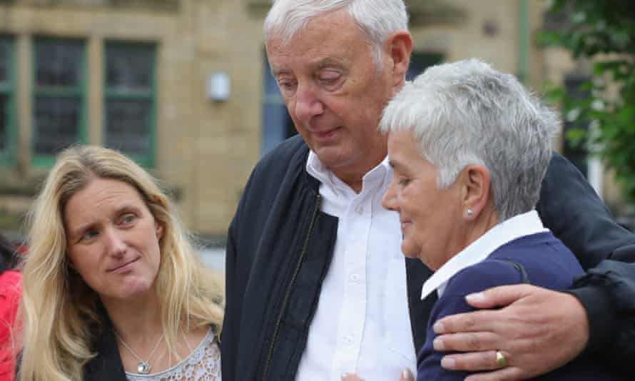 Jean Leadbeater, right, the mother of Labour MP Jo Cox, with her husband and sister in Birstall.