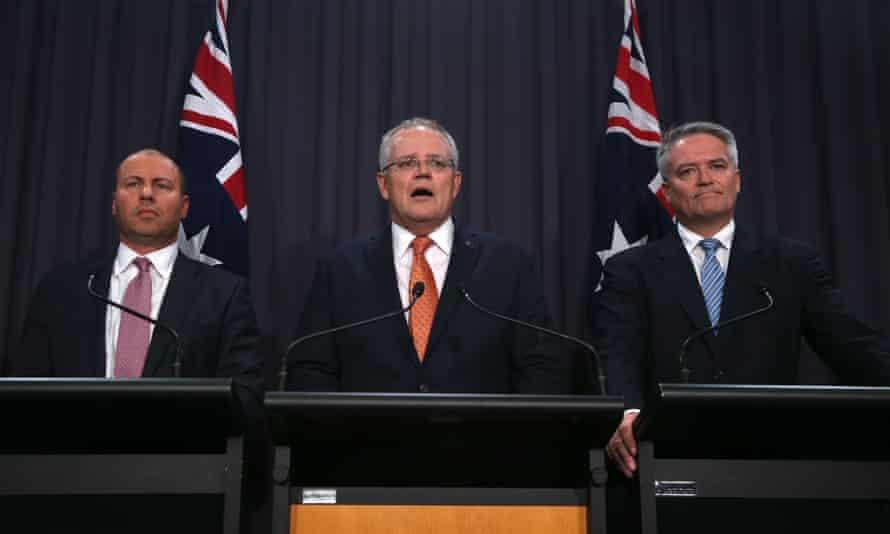 Australian treasurer Josh Frydenberg, prime minister Scott Morrison and finance minister Mathias Cormann