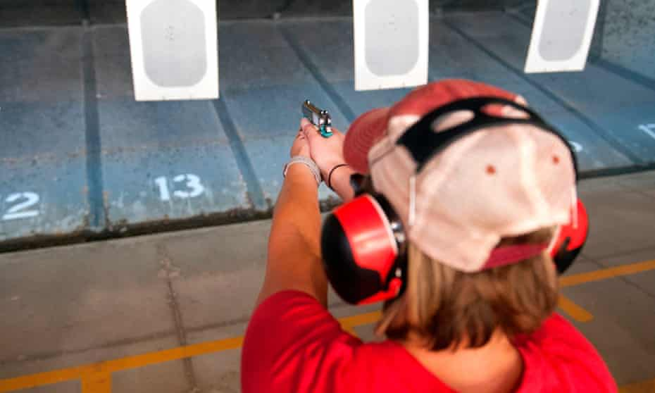 FILES-US-POLITICS-TEACHERS-EDUCATION-FIREARMS(FILES) In this file photo taken on June 26, 2018 a trainee fires her gun during a three-day firearms course offered to school teachers and administrators by FASTER Colorado at Flatrock Training Center in Commerce City, Colorado. - Florida's House of Representatives on May 1, 2019 approved a bill allowing teachers to carry firearms -- a controversial step whose effectiveness in countering school shootings remains unproven. (Photo by Jason Connolly / AFP)JASON CONNOLLY/AFP/Getty Images