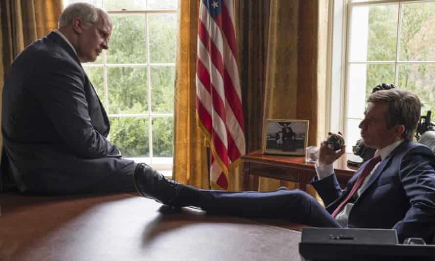 """This image released by Annapurna Pictures shows Christian Bale as Dick Cheney, left, and Sam Rockwell as George W. Bush in a scene from """"Vice."""" On Thursday, Dec. 6, 2018, the film was nominated for a Golden Globe award for best motion picture musical or comedy. The 76th Golden Globe Awards will be held on Sunday, Jan. 6. (Matt Kennedy/Annapurna Pictures via AP)"""