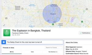 Facebook activated its safety check tool on 26 December, citing 'media sources' as confirmation of an 'explosion'.