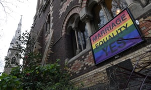 A marriage equality sign is seen on the exterior of the St Michael's Uniting Church in the Melbourne.