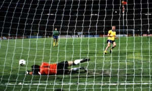 Carlos Pereira saves a penalty from Graham Rix as Valencia win the Cup Winners' Cup final in a penalty shootout.