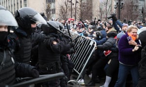 Unauthorized rally in support of Russian opposition activist Navalny held in MoscowMOSCOW, RUSSIA - JANUARY 23, 2021: Riot police officers force out participants in an unauthorized rally in support of Russian opposition activist Alexei Navalny in Pushkinskaya Square. Gavriil Grigorov/TASS (Photo by Gavriil Grigorov\TASS via Getty Images)